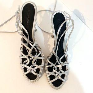 BCBG Silver strap heels